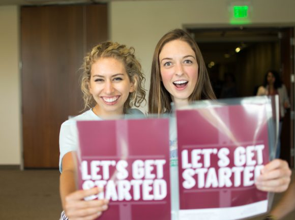 chapman students with orientation literature