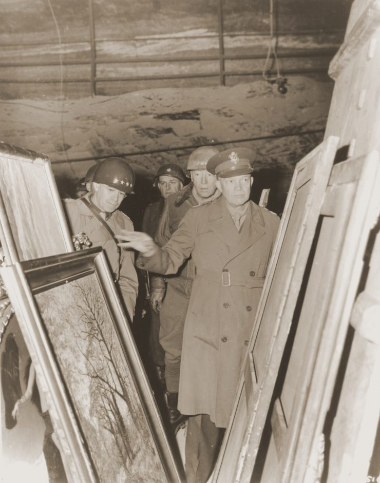 Patton, Eisenhower examining looted paintings