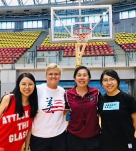 Holly Warlick, Carol Jue and two Taiwanese basketball players
