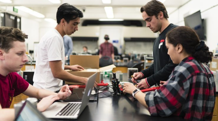 Chapman University students in the GCI Makerspace