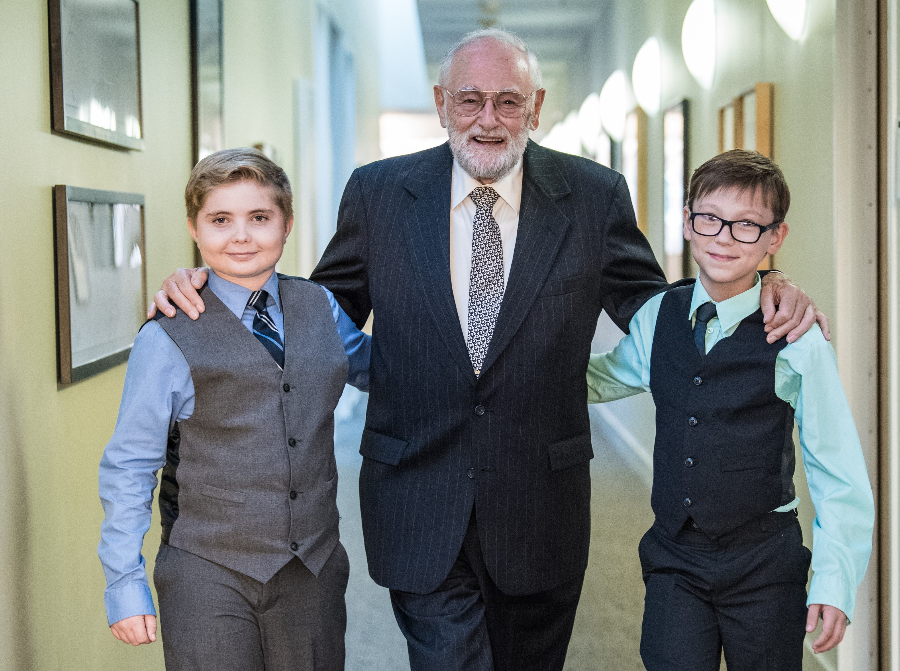 Holocaust survivor Peter Feigl meets, from left, Thomas Gnacke and Dane Kassube at Chapman University. Gnacke and Kassube took first-place in National History Day's Junior Group Documentary Category. The students interviewed Feigl by Skype, but this was their first face-to-face meeting.