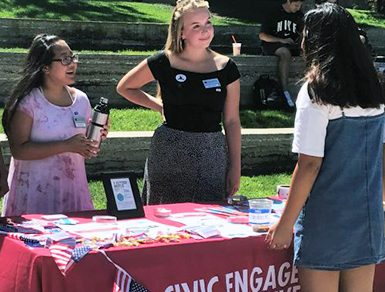 Chapman students in Piazza. A variety of student and campus activities helped boost campus voting rates.