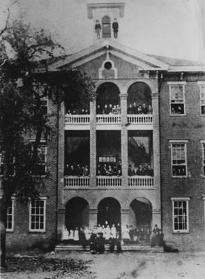 Hesperian College building in 1862.
