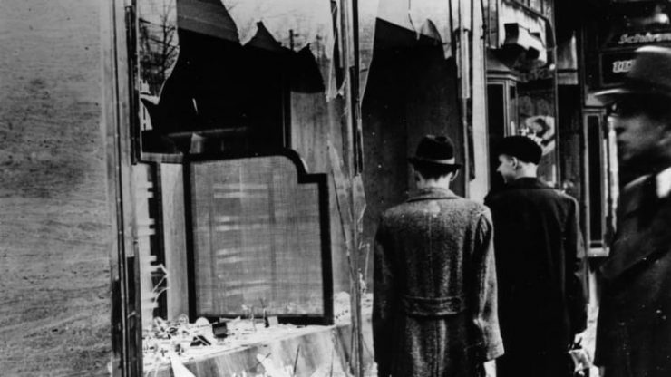 old photograph of Kristallnacht aftermath.
