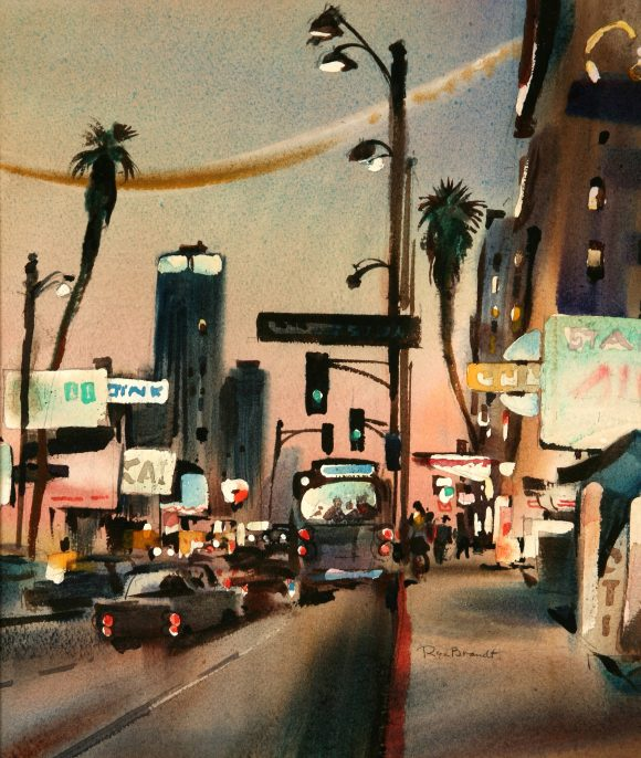 "Rex Brandt, ""Wilshire Boulevard,"" c. 1960, watercolor on paper. The Hilbert Collection."