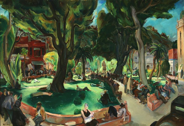 "Phil Dike, ""Sunday Afternoon in the Plaza de los Angeles,"" 1939, oil on canvas. The Hilbert Collection."