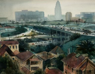"Emil Kosa Jr., ""Cloverleaf Confusion,"" 1950s, watercolor on paper. The Hilbert Collection."