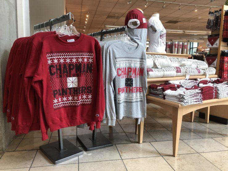 holiday shirts display chapman university