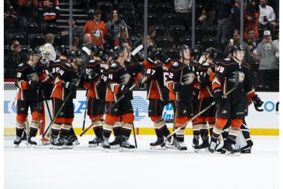 Anaheim Ducks hockey players on ice