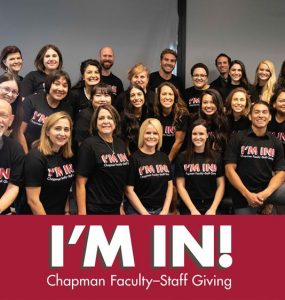 Photo of staff and faculty wearing I'm In shirts