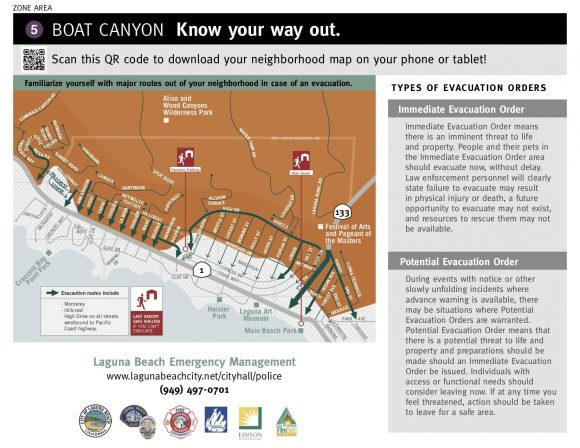Lauguna Beach Evacuation Map (Boat Canyon)