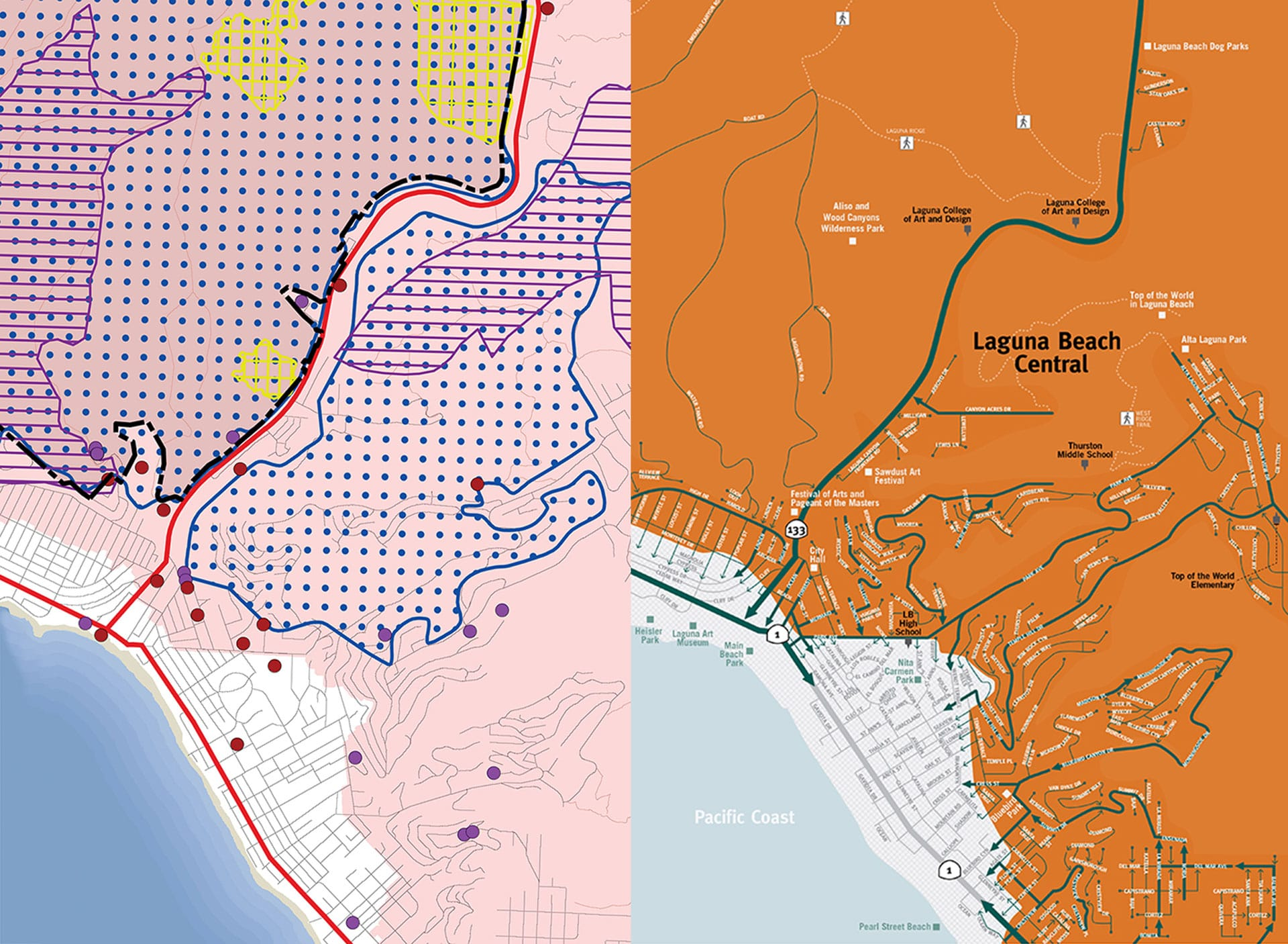 Laguna Beach evacuation map before and after redesign