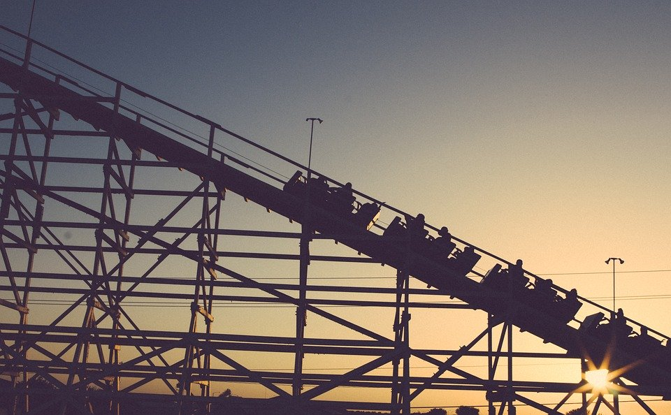 Roller coaster with sunset background
