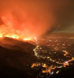 Wild fire in California hills