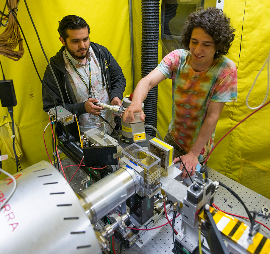 students with the synchrotron