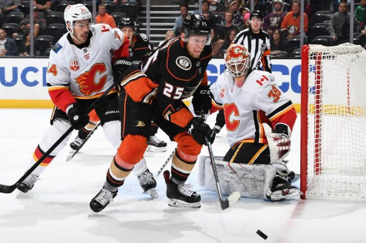 Anheim Ducks and Calgary Flames players on the ice