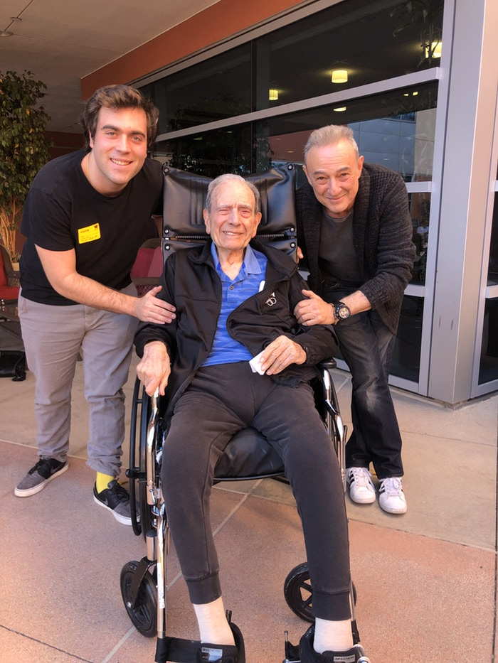 "Holocaust Survivor Dario Gabbai, center, with Jaco Pitchon, right, who plays Rafi in ""Lightning Man,"" and Jonathan Goetzman, left, filmmaker."