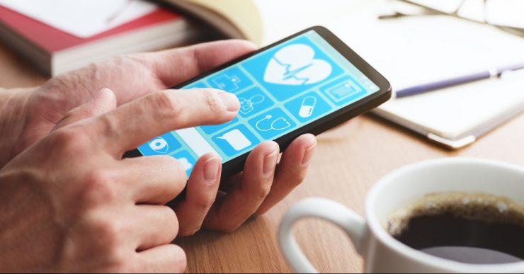 Online healthcare app on smartphone screen