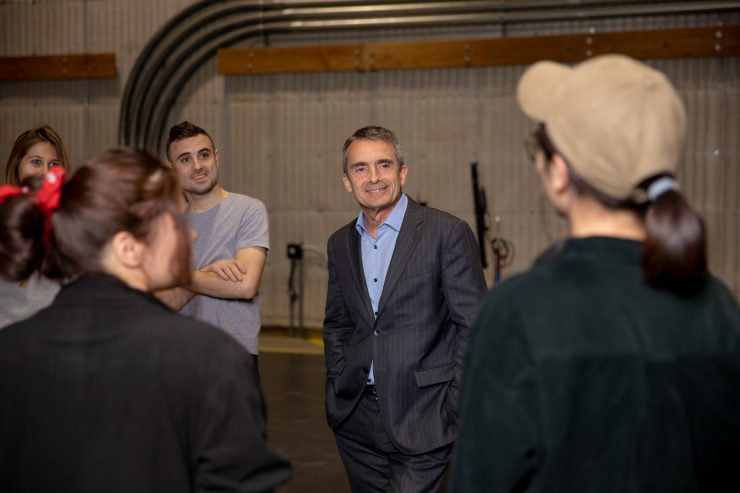 Stephen Galloway meets with students on a sound stage at Marion Knott Studios.