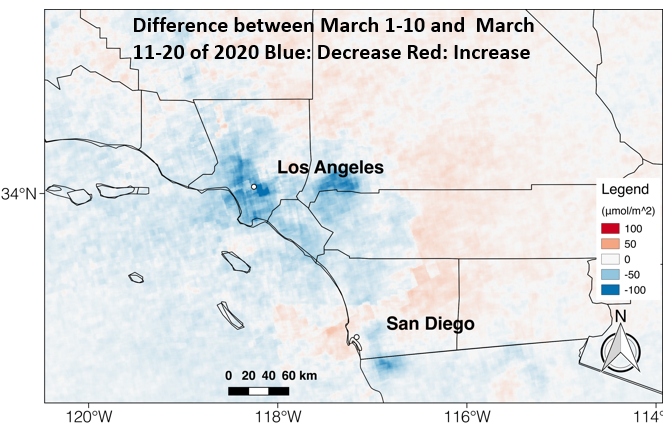 A satellite image interpreted by a Chapman earth systems lab shows a steep drop in nitrogen oxide emissions in and around Los Angees, indicating that residents are observing stay-at-home orders.