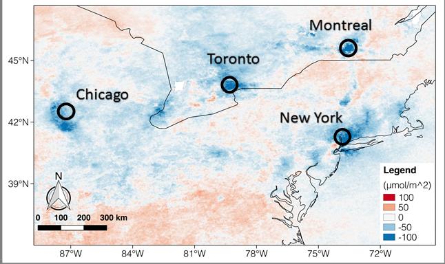 Satellite image showing nitrogen emission levels.