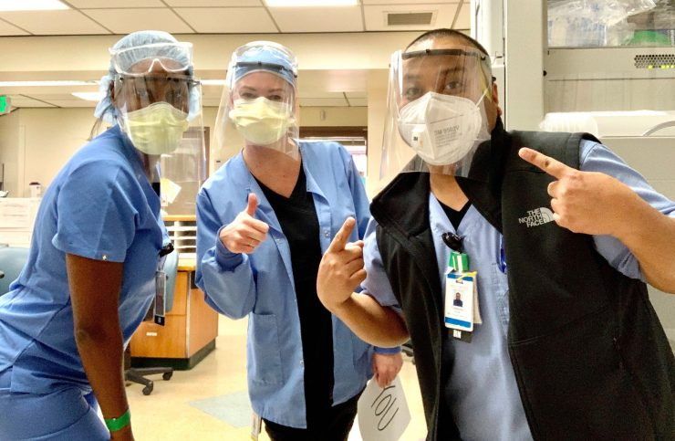 medical workers in face masks