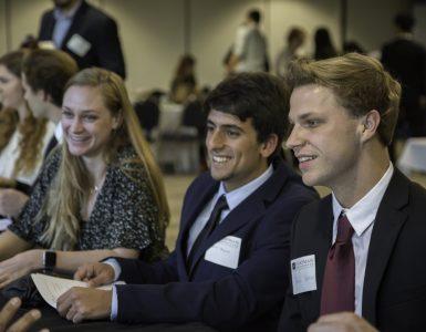 chapman students networking at career fair