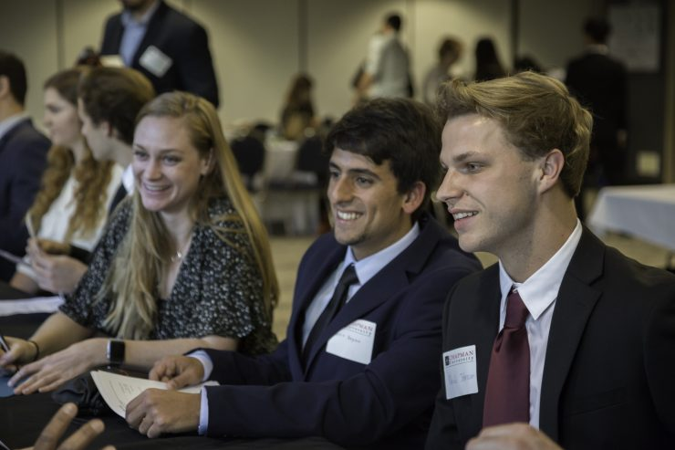chapman students networking at career fair