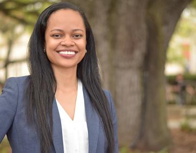 Environmental portrait of Angelica Allen, professor of Africana Studies.