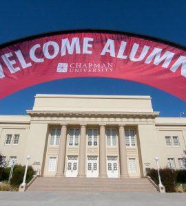 welcome alumni banner in front of memorial hall