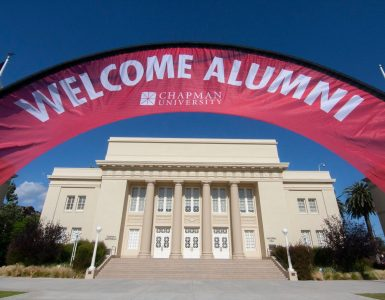 welcome alumni banner in front of memorial hall