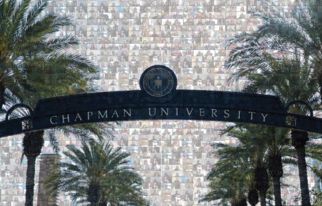 Entrance gate to Chapman University, where researchers are working in response to COVID-19 virus.