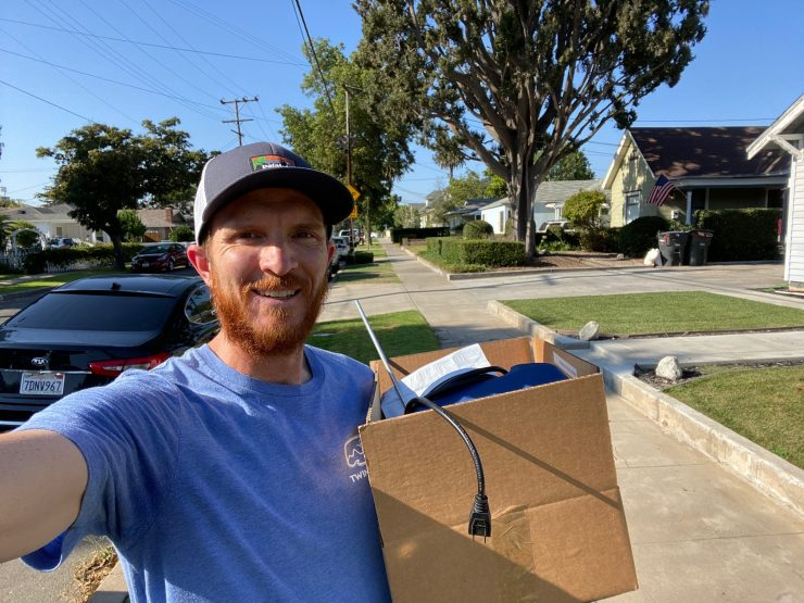 Chapman University Chemistry Professor delivering lab supplies to students