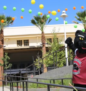 Pete the Panther at the K residence hall