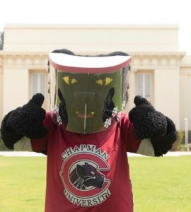 Pete the Panther in a face shield