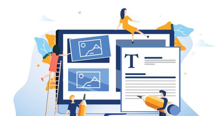Illustration of website design process.