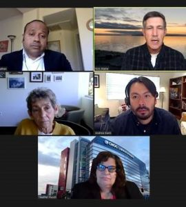 screen shot of five panelists on a zoom screen