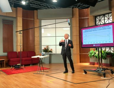 President Emeritus Jim Doti presented the annual Economic Forecast in a university studio, allowing thousands of viewers to watch the virtual event online.