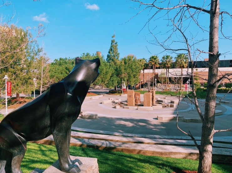 Sculpture of Pete the Panther looks over Attallah Piazza