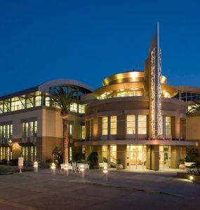 Dodge College at night.