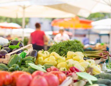 variety display of vegetables at farmer's market