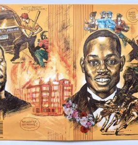 Portrait of George Floyd, Breonna Taylor and Ahmaud Arbery painted on pee chee folder.