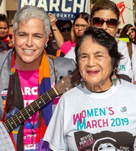 Dolores Huerta and Betty Valencia at a women's march