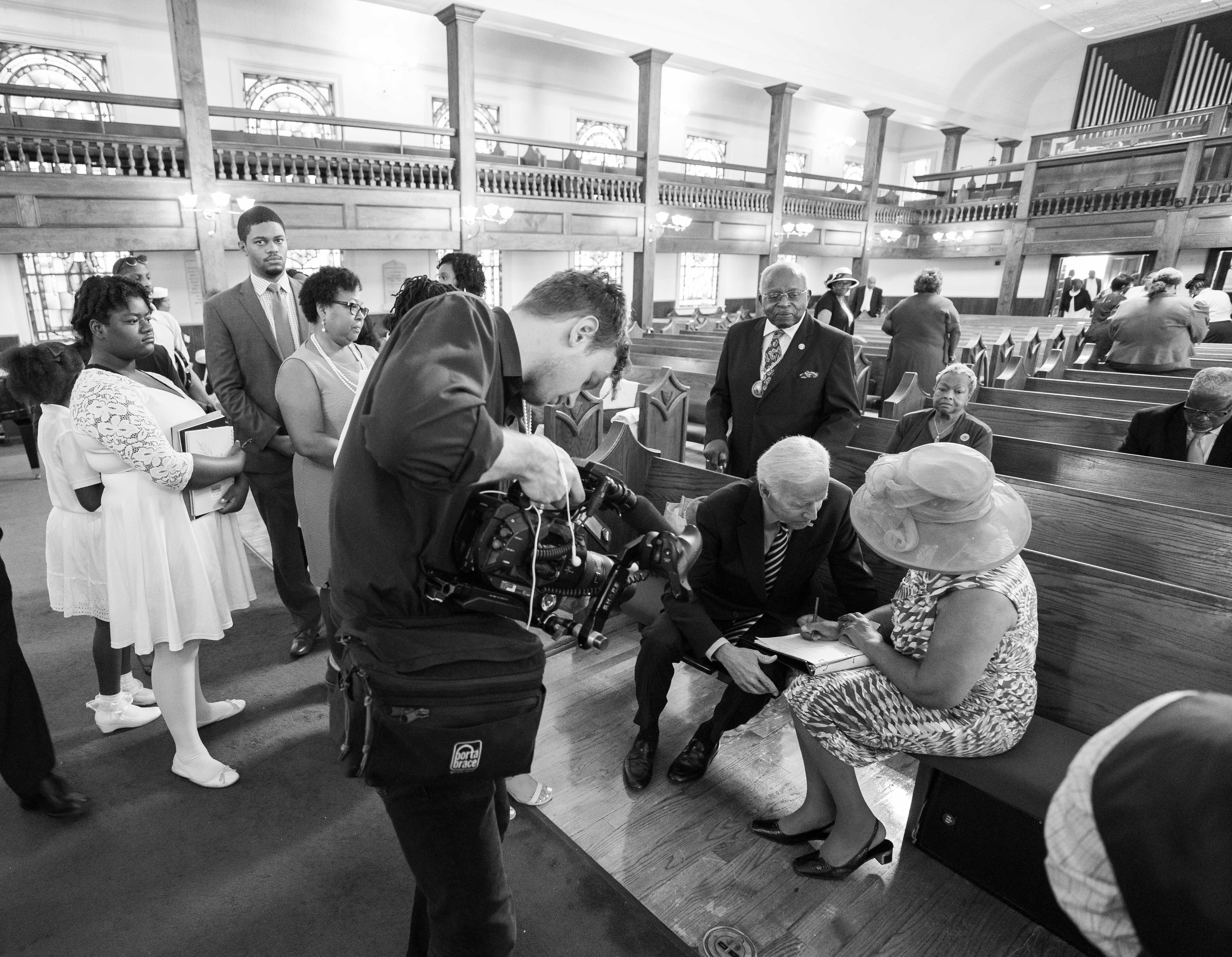 Drew Heskett videotapes Joe Biden in Morris Brown AME Church