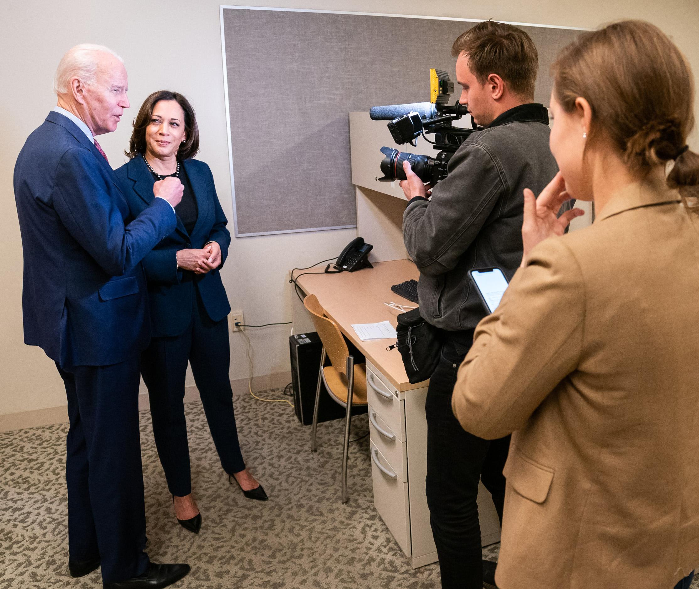 Drew Heskett videotapes Joe Biden and Kamala Harris