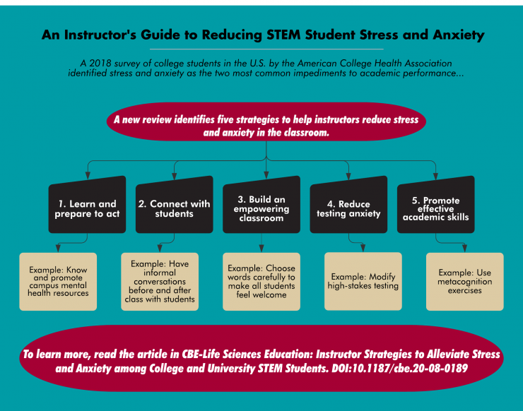 flowchart that shows an instructor's guide to reducing STEM student stress and anxiety
