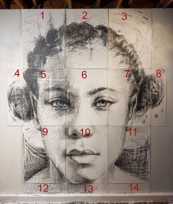 Sheets of velum numbered to show how they fit together to create portrait of woman.