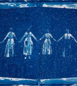 Ink on architectural film depicting women holding hands.