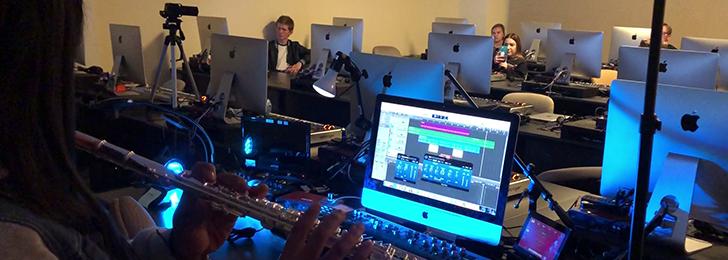 Chapman students in music tech