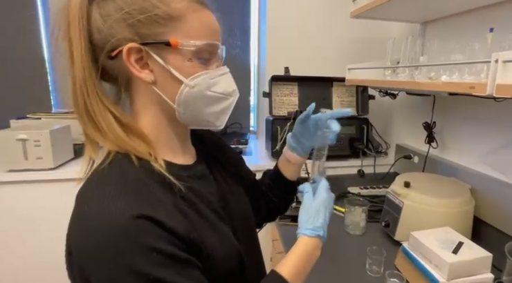 Chapman student Emma Kocik in the lab